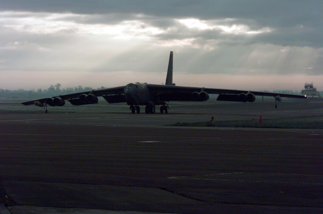 A B-52H Stratofortress taxis to a ramp after a mission at Royal Air Force Fairford, United Kingdom. In a conventional conflict, the B-52 can perform air interdiction, offensive counter-air and maritime operations. During Desert Storm, B-52s delivered 40 percent of all the weapons dropped by coalition forces (not shown). B-52s are forward deployed in support of NATO Operation Allied Force from Barksdale Air Force Base, Louisiana, and Minot AFB, North Dakota