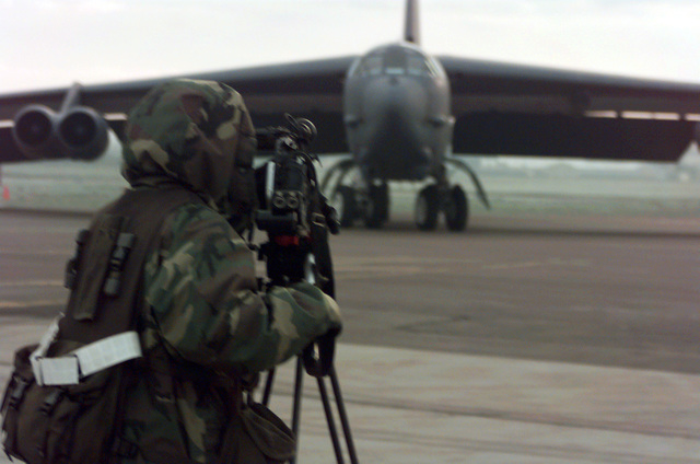 SRA Heather Freeman documents a B-52H Stratofortress at Royal Air Force Fairford, United Kingdom. Freeman is a videographer assigned to the 100th Communications Squadron, RAF Mildenhall. She is forward deployed to RAF Fairford in support of the 2nd Air Expeditionary Group. The 2nd AEG is supporting NATO Operation Allied Force