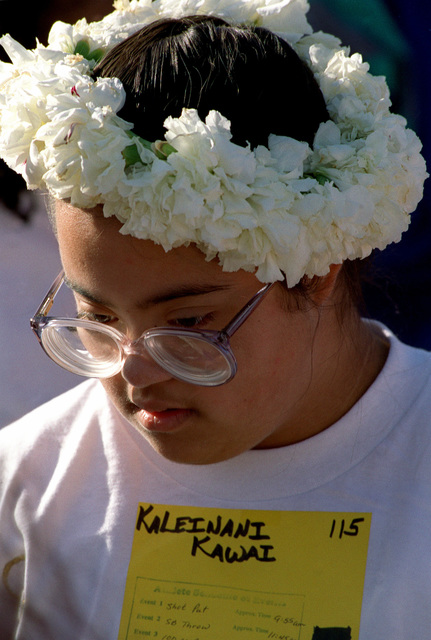 """Kaleinani Kawai was one of the many participants at this year's Northern Santa Barbara County Special Olympics '99, held on April 17th, 1999 at Vandenberg Air Force Base, California. The beautiful Hawaiian lei on the top of her head represents her name which translates into """"Lei of Love."""" This image is seen in the April 1999 edition of AIRMAN Magazine"""
