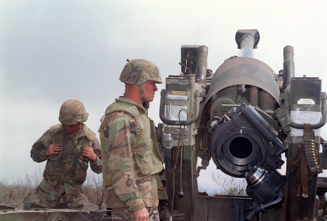 Marines from Bravo Battery, 1ST Battalion, 12th Marines, 3rd Marine Regiment ready a M198 155mm Towed Howitzer during a combined arms live fire exercise on. The M198 is constructed of aluminum and steel, and is air transportable by CH-53E helicopter and C-130 or larger fixed-wing aircraft. Maximum effective range with conventional ammunition is 22,400 meters (13.92 miles) and with a rocket-assisted projectile, 30,000 meters (18.64 miles)