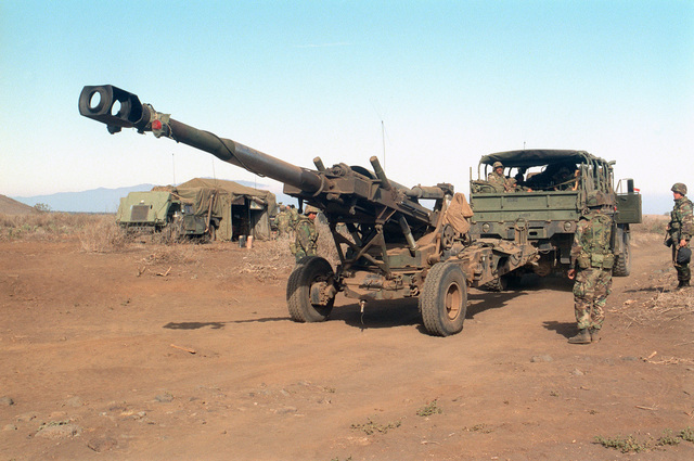 A M198 155mm Medium Towed Howitzer from Bravo Battery, 1ST Battalion, 12th Marines, 3rd Marine Regiment is positioned during a combined arms live fire exercise. The M198 is constructed of aluminum and steel, and is air transportable by CH-53E helicopter and C-130 or larger fixed-wing aircraft. Maximum effective range with conventional ammunition is 22,400 meters (13.92 miles) and with a rocket-assisted projectile, 30,000 meters (18.64 miles)