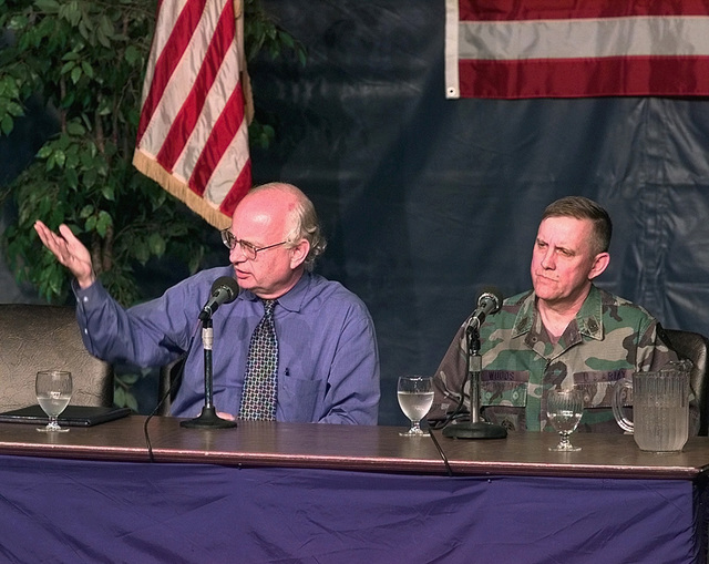 Roger Winter, Executive Director of Immigration and Refugee Services of America, and SGM Steven Woods, of the U.S. Army Reserve Command, field questions from the local and national media (not shown) concerning the status and morale of the 453 Kosovar after refugees (not shown) who were flown into Fort Dix, New Jersey, on May 5, 1999. Both individuals are at Fort Dix to aid Joint Task Force Open Arms which is responsible for ensuring the refugees are properly processed and taken care of until sponsor families (not shown) can be found for them. Open Arms is part of Operation Sustain Hope, the U.S. effort to bring in food, water, medicine, relief supplies, and to establish camps (not shown)...