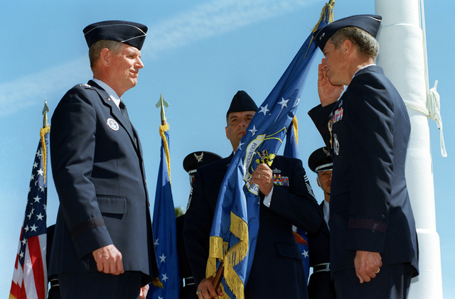 US Air Force General Gerald Perryman Jr., relinquishes his command of the 14th Air Force to General Richard B. Meyers, Air Force Space Command and US Space Command Commander, May 6th, 1999, during the Change of Command Ceremony held outside the Headquarters Building at Vandenberg Air Force Base, California