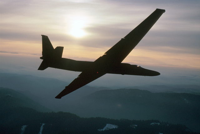 In flight photo of a U-2 from Beale AFB, California. AIRMAN Magazine article describes the U-2 as still being a major player in the nation's reconnaissance mission despite its 1950s' design and first flight in 1955. Capable of then flying over 70,000 feet, and now even higher thanks to a new F-118-101 engine and upgraded avionics the aircraft was awarded the Collier Trophy in 1998 by the National Aeronautic Association and named the U-2S. The U-2S now has digital capabilty and can transmit data instantaneously to analysts at Beale AFB by using a network of ground stations and satellites. (AIRMAN Magazine/July 1999 - The Big Picture)