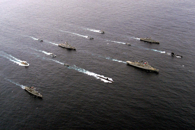 Ships participating in Exercise TEAMWORK SOUTH '99 in formation off the coast of Chile