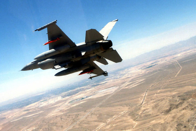 A 169th Fighter Wing F-16C Falcon, Block 52, aircraft from McEntire Air National Guard Station, South Carolina, participate in a Miniature Air-Launched Decoy (M.A.L.D.) exercise at Nellis Air Force Base, Nevada. The exercise began on July 2nd, 1999. The South Carolina Air National Guard is the only reserve/guard unit to receive this high-profile mission known as Supression of Enemy Air Defenses (S.E.A.D.)