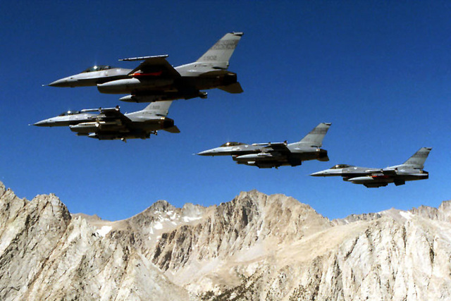 Four 169th Fighter Wing F-16C Falcons, Block 52, aircraft from McEntire Air National Guard Station, South Carolina, participate in a Miniature Air-Launched Decoy (M.A.L.D.) exercise at Nellis Air Force Base, Nevada. The exercise began on July 2nd, 1999. The South Carolina Air National Guard is the only reserve/guard unit to receive this high-profile mission known as Supression of Enemy Air Defenses (S.E.A.D.)