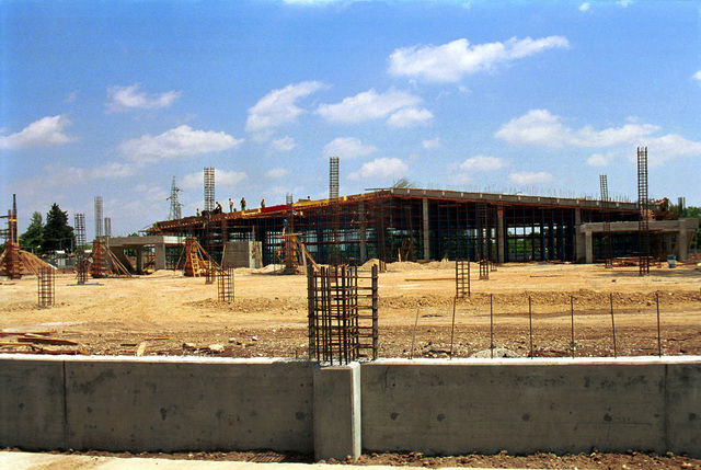 Straight on long shot of the Incirlik Air Base, Turkey, Base Exchange construction project. Currently in phase 1, the project started in April 1999 and is scheduled for completion in April of 2000