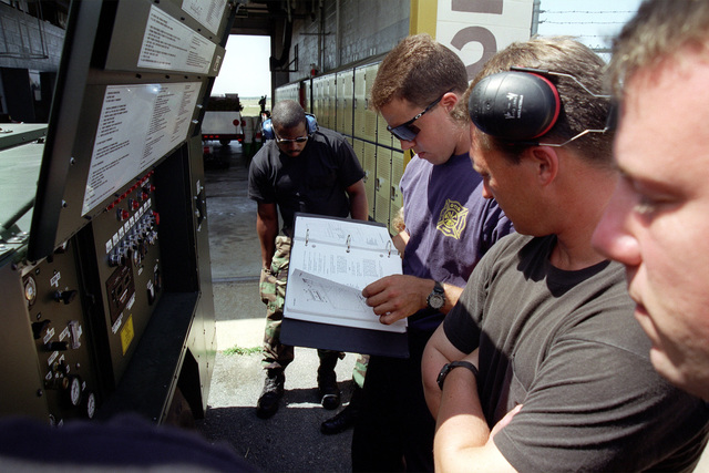 Fire/Rescue Department personnel review tech order in front of a vehicle control panel. Air National Guradsmen from the 102nd Fighter Wing, Massachusetts ANG, Otis Air National Guard Base, MA and 169th Fighter Wing, South Carolina ANG, McEntire ANGB, SC, 27 July 1999