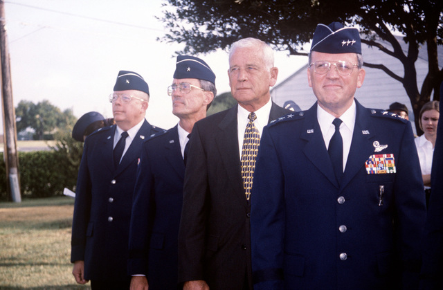 (From left to right) Brigadier General Lloyd Dodd, Brigadier General John Jernigan, retired General Robert Rutherford and Lieutenant General Robert Raggio wait for the start of the 311th Human Systems Wing Change of Command at Brooks Air Force Base, Texas
