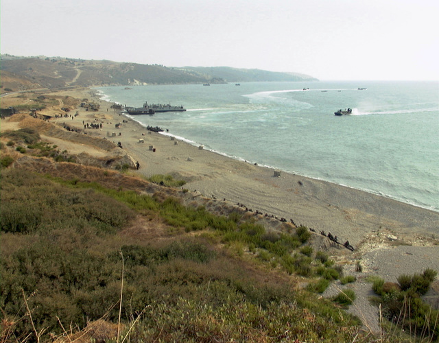The beach head at Cape Ince is the scene of a mock amphibious assault. Marines from the 26th Marine Expeditionary Unit (Special Operations Capable) (MEU(SOC)), embarked aboard the USS PONCE (LPD-15) are participating in the NATO exercise, NORTHERN APPROACH, with British and Turkish forces