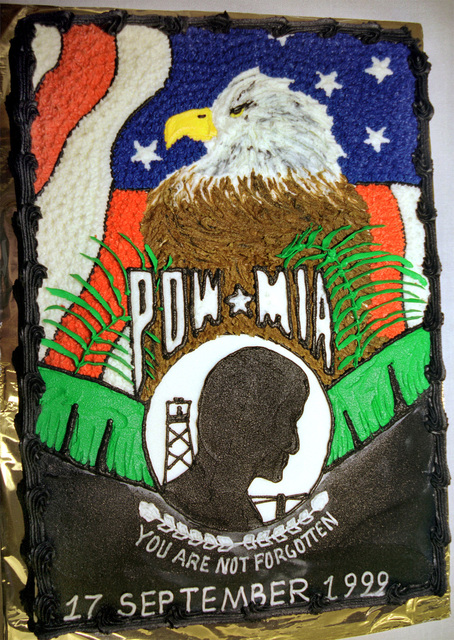 Close up, in honor of all POW/MIA's a cake was made for the reception to be held after a special retreat ceremony on September 17, 1999, at the 60th Air Mobility Wing on Travis Air Force Base, California. Not shown - Brigadier General Steven A. Roser, USAF, Commander, 60th Air Mobility Wing, Travis AFB, presented the Purple Heart to Major Robert Brubaker (U.S. Air Force retired)