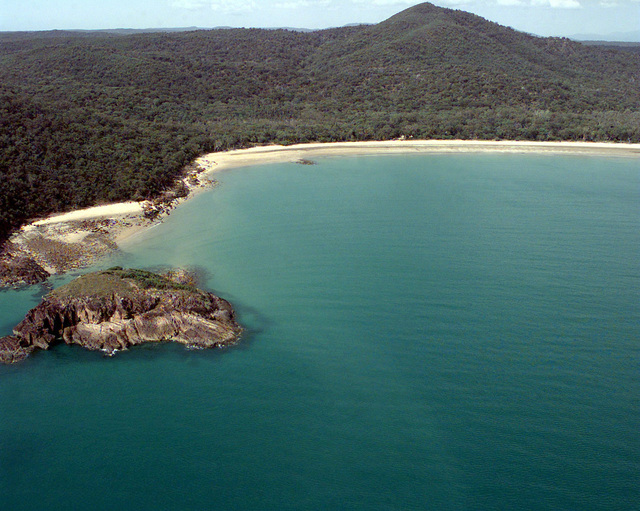An aerial view of Freshwater Bay in the Shoalwater Bay Military Training Area, Queensland, Australia. U.S. and Australian forces will be participating in exercise Crocodile '99 where they will use this proposed site to make an amphibious landing during the month of October