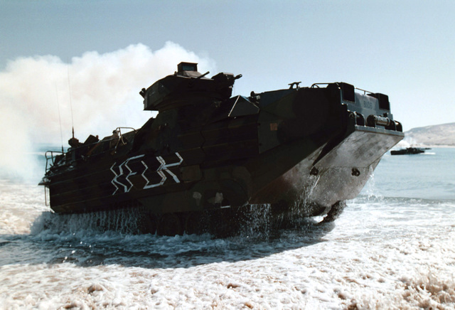 An Amphibious Assault Vehicle (AAV) from the Twenty Sixth Marine Expeditionary Unit (Special Operations Capable) (26 MEU (SOC)), Attack Cap Serrat Beach, during Exercise ATLAS HINGE in Tunisia, Africa