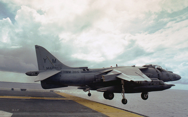 The last of six AV-8B2 Harriers attached the the Air Combat Element of the 26 MEU (Special Operation Capable) (MEU (SOC)), launches from the flight deck of the USS Kearsarge. The Harriers left the Kearsarge as the ship came closer to the U.S. after a six month deployment to the Mediterranean