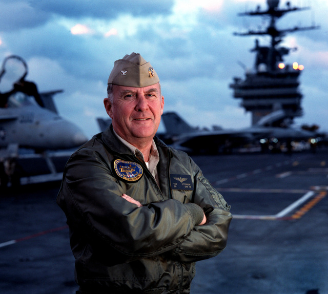 Shot of US Navy Captain Thomas G. Otterbein, first Commanding Officer of the newest nuclear powered aircraft carrier USS HARRY S. TRUMAN (CVN 75). CAPT Otterbein reported in May of 1996 to the Precommissioning Unit Harry S. Truman and saw her through construction builders trials, sea trials, commissioning, Flight Deck Certification and Carrier Qualifications