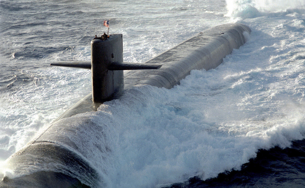 The U.S. Navy's nuclear ballistic submarine USS MAINE (SSBN-741) one of the nations newest Ohio