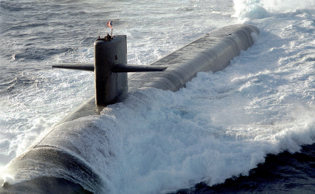The U.S. Navy's nuclear ballistic submarine USS MAINE (SSBN-741) one of the nations newest Ohio class submarines, conducts surface navigational operations approximately 50 miles due south of Naval Station Roosevelt Roads, Puerto Rico