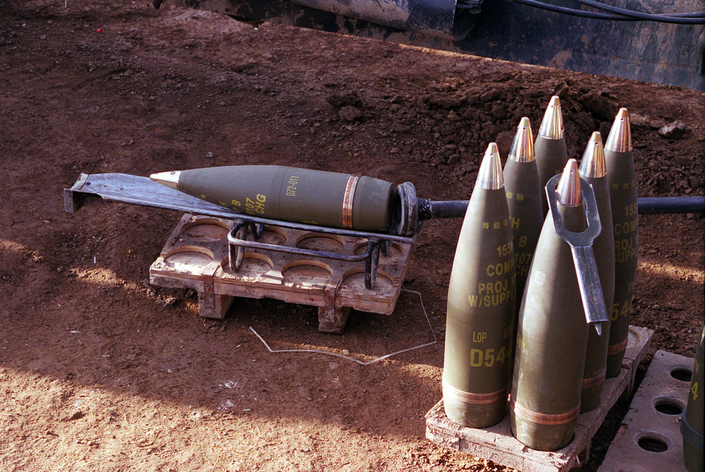 Medium close-up shot of US Marine Artillery rounds used for the M198 155mm Howitzer from Lima Battery, 3rd Battalion, 12th Marines from Camp Hansen, Okinawa, Japan, waiting to be fired during the Artillery Relocation Shoot at Ojojihara, Japan