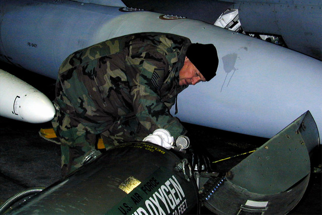 MASTER Sergeant Barry Ward from the 169th Fighter Wing (FW) Aircraft Generations Squadron, McEntire Air National Guard (ANG) Station South Carolina, services liquid oxygen on one of his unit's F-16 aircraft deployed at Incirlik Air Base, Turkey. The 169th FW, is deployed in support of Aerospace Expeditionary Force #4, operation Northern Watch. They are the fist ANG F-16 unit equipped with Suppression of Enemy Air and Defenses (SEAD) technology