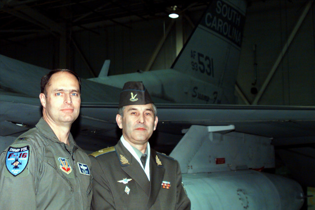General Major Abdurakhmanov (right), commander of the Uzbekistan Air Force and Air Defenses, stands beside Colonel Richard Nobel, Commander, 169th Fighter Wing (FW), McEntire Air National Guard (ANG) Station, South Carolina. The 169th FW is the first ANG, F-16 equipped, Suppression of Enemy Air and Defenses (SEAD) unit