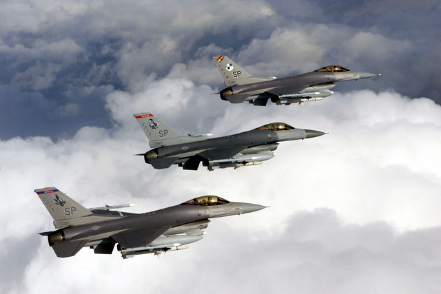 The US Air Force F-16C, flagship of the 52d Fighter Wing, Spangdahlem Air Base, Germany, fly the skies over central Europe. Spangdahlem AB consists of two F-16 squadrons, the 22nd and 23rd Fighter Squadrons. It's also home to the 81st Fighter Squadron, which flies the A-10 Thunderbolt II (Not shown)