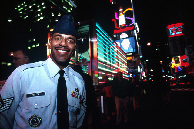 "US Air Force Recruiter Technical Sergeant James Sutton tries to sell the Air Force way of life in an office located in Manhattan ""Times Square"", New York. From the March 2000 AIRMAN Magazine article ""New York, New York,"" which depicts Recruiter duty from Manhattan, New York"