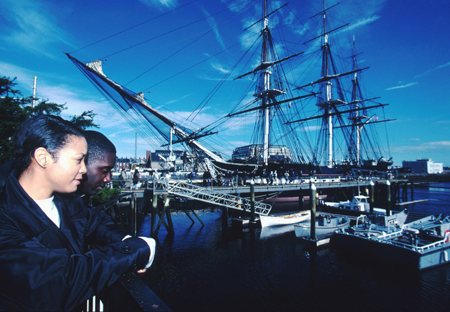 "US Air Force SENIOR Airmen Maurice and Nikki Robinson, a couple assigned to Hanscom Air Force Base, Massachusetts sightsee in downtown Boston, taking a tour of the USS Constitution. From the March 2000 AIRMAN Magazine article ""Based in Beantown,"" depicting how good an assignment to Hanscom, AFB can be up in the northeast"