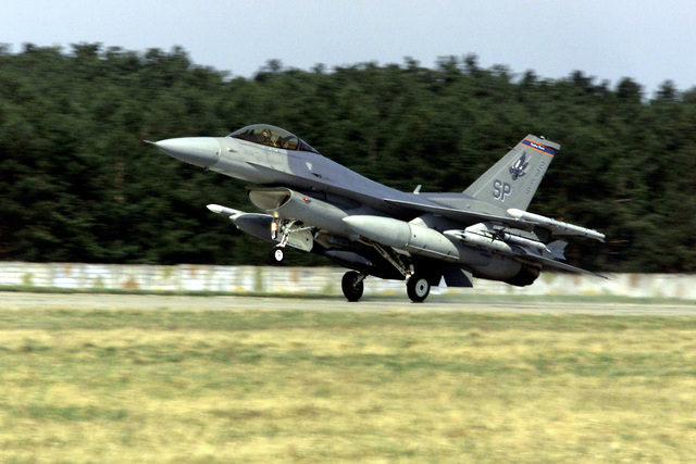 A US Air Force F-16 Falcon from Spangdahlem Air Base, Germany, is the first U.S. warplane to touch Slovak soil after touching down at Malacky Air Base, Slovakia. Colonel Richard Reynolds, Spangdahlem's 23rd Fighter Squadron Commander, landed the plane April 1. More than 200 Spangdahlem Airmen (Not Shown) are deployed to Malacky for a two-week training exercise, named Lion's Claw, that is giving U.S. and Slovak Air Forces an opportunity to share tactics, techniques and procedures