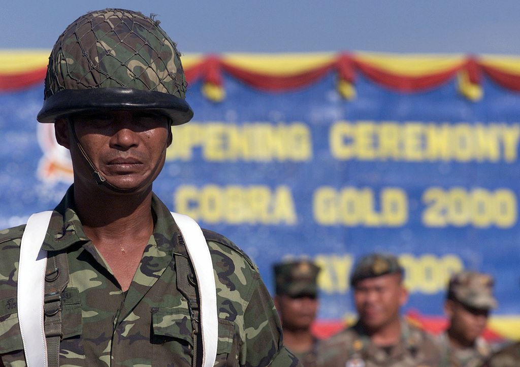 A Royal Thai Army Soldier stands at attention, during the Opening Ceremony for Exercise COBRA GOLD 2000 held at Vajira Military Camp, Nakhon Si Thammarat, Thailand