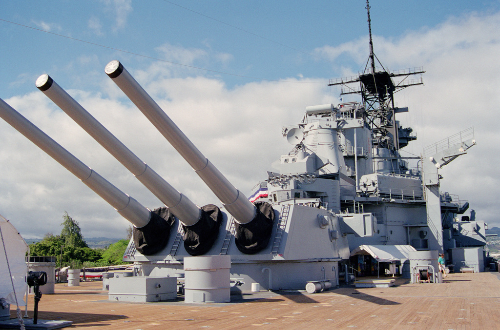 View of the aft Mark 7 16inch/50 caliber gun turret on board the memorial battleship USS Missouri (BB 63). The ship is moored at Fox no. 5 alongside Ford Islands battleship row and is open to the public