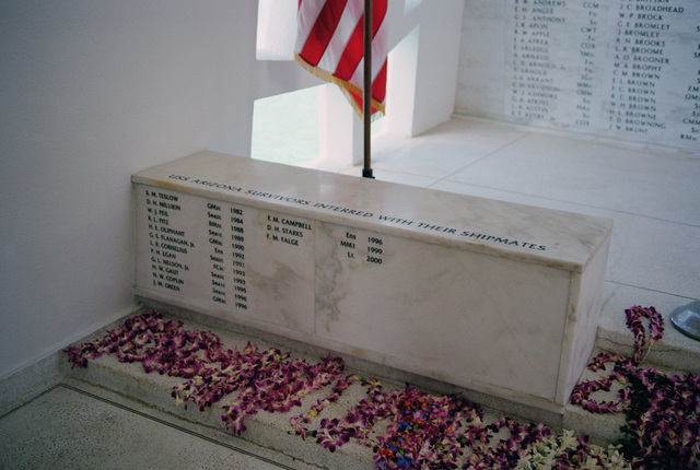 A marker inside the shrine room of the USS ARIZONA Memorial listing the names of survivors of the sinking of the battleship that have since been interned aboard the sunken ship upon their passing. There were 268 survivors who may be interned on their fallen ship. This marker names those who have chosen to do so