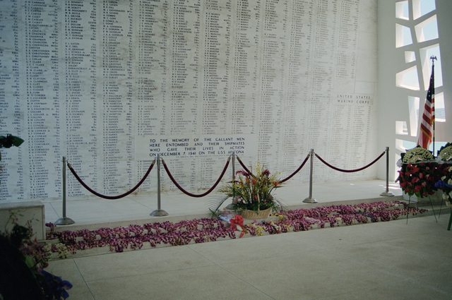 Inside the shrine room of the memorial bridge that spans the wreck of the battleship USS ARIZONA (BB 39), the names of the fallen crewmen are displayed in loving memory