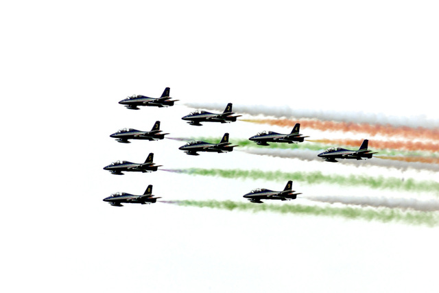 Frecce Tricolore, the Italian Air Force Aerobatic Team, does another low pass at the LaComina Airshow, Pordenone, Italy, on June 11th, 2000