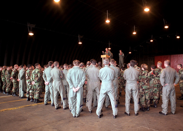 Commander United States Air Forces in Europe, GEN Gregory Martin talks to the men and women of the 494th Fighter Squadron, at an RAF Lakenheath hangar