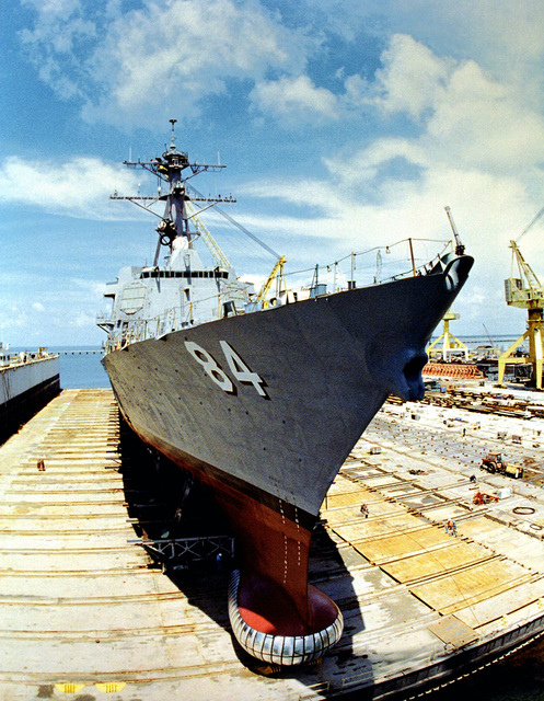 Fish-eye starboard bow view of the Arleigh Burke Class, Block IIA Aegis Destroyer USS BULKELEY (DDG 84) prior to float off at the Litton Industries Shipyard, Pascagoula, Mississippi. Note the SQS-53 Snore Dome