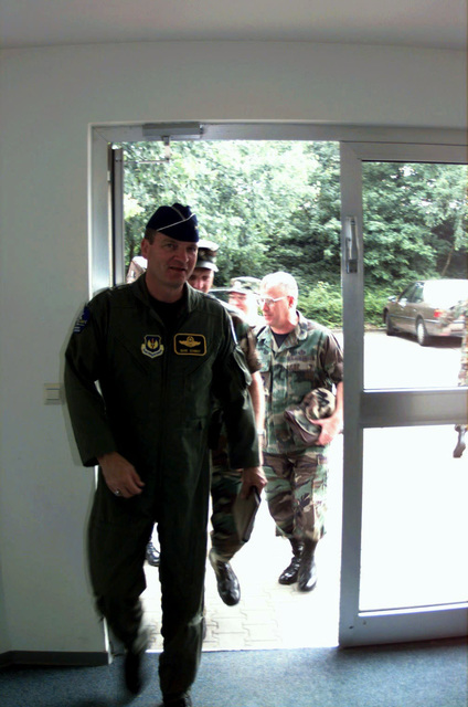 Major General Schmidt, newly arrived to Europe, is the United States Air Force Europe Director of Aerospace Operations, Ramstein Air Base, Germany. He was given a brief tour of the USAFE Operational Weather Squadron facility at Sembach AB, DEU, and an opportunity to shake hands with each individual personnel