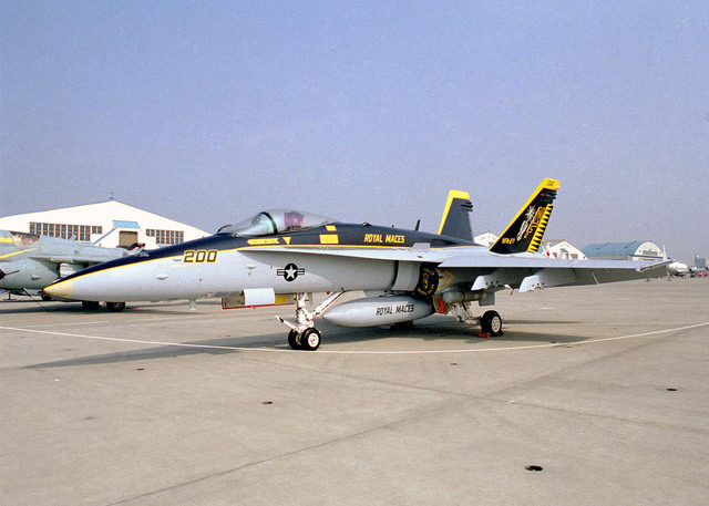 """Naval Air Facility (NAF), Atsugi, Japan, hosts the """"Wings 2000"""" Airs show, featuring various static displays such as this F/A-18 """"Hornet"""" presented by the """"Royal Maces"""" attached to Strike Fighter Squadron Two Seven (VFA-27)"""