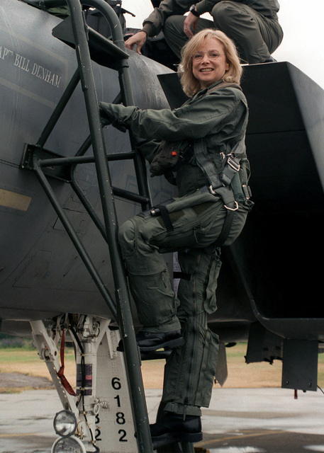 MS. Sue Baumgarten, Raytheon Vice President, Business Development/Electronic Systems, climbs aboard a US Air Force F-15 Eagle for an incentive flight on June 29th, 2000, at Royal Air Force Base Lakenheath, United Kingdom