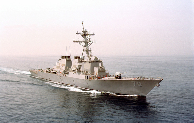 The USS HOPPER (DDG 70), cuts through the warm waters of the Persian Gulf, in support of Operation SOUTHERN WATCH 2000