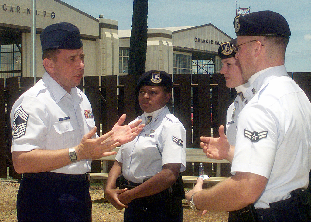 Right side front view medium shot as CHIEF MASTER Sergeant of the