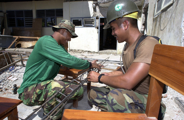 PETTY Officer Third Class (PO3) Gabriel Morris from Wahiawa, Hawaii, works with an Indonesian Marine at the Nambangan Elementary School in Surabuya, Indonesia during Cooperation Afloat Readiness and Training 2000 (CARAT 2000)