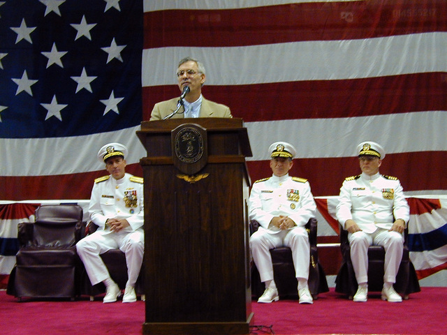Secretary of the Navy (SECNAV), the Honorable Mr. Richard Danzig, is the guest speaker at the Commander Naval Surface Forces Atlantic (CNSFA), Change of Command held on board the USS KEARSARGE (LHD 3) on July 27, 2000