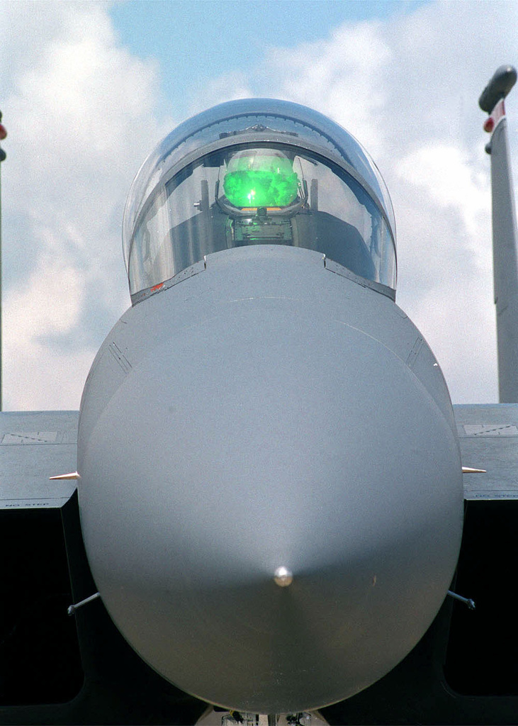 A head-on shot of an F-15E Strike Eagle aircraft from the 48th Fighter Wing, 494th Fighter Squadron, Royal Air Force Lakenheath, United Kingdom