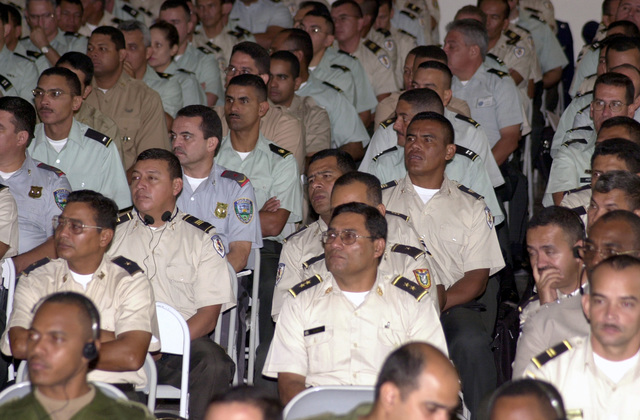 Participants of Peace Keeping Operations-North 2000 (PKO-NORTH 2000) listen to the opening ceremony speeches at the Honduran Military Academy in Tegucigalpa, Honduras. The exercise, which runs from 14-25 August 2000, is sponsored by US Southern Command in Miami, Florida, and executed by US Army South in Ft. Buchanan, Puerto Rico