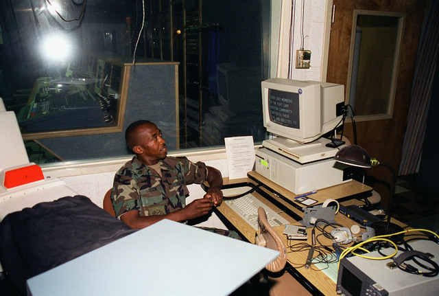 US Army Sergeant First Class Michael Gibson operates the Tele-Scripter for the taping of US Army Major General Kevin Kiley's presentation for the year 2000 Combined Federal Campaign (CFC). This took place in the studio of the Fort Sam Houston Audio/Visual Production Facility, Fort Sam Houston, San Antonio, Texas