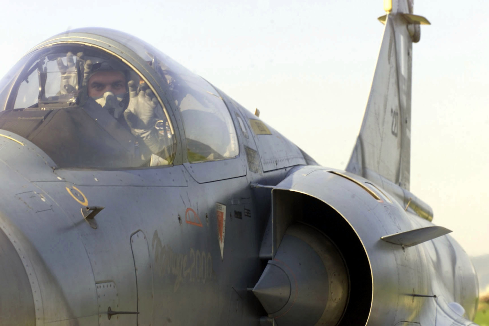 Captain Stefanos Ampouleris, Hellinic Air Force, 114th Composite Group, 331st Tactical Fighter Wing, Greece, in his Mirage 2000 Fighter. The Hellinic unit is at Aviano Air Base to train with the 510th Fighter Squadron. The Mirages provide valuable dissimilar training allowing 510th Fighter pilots the opportunity to train against other types of aircraft. (Duplicate image, see also DFSD0101806 or search 000816F4728F004)