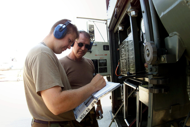 Closest to camera, from left to right, SENIOR AIRMAN William Watros, a Fuels journeyman and Technical Sergeant Cal Garlock of the 124th Logistics Squadron, Air National Guard from Idaho, prepare to re-fuel a Hellenic (Greek) Mirage 2000 (not shown). The Hellenic unit is at Aviano Air Base, to train with the 510th Fighter Squadron. The Mirages provide valuable dissimilar training allowing 510th Fighter pilots the opportunity to train against other types of aircraft