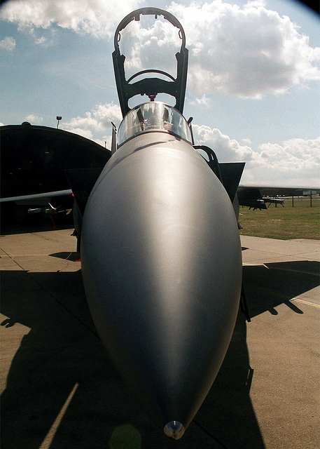 Frontal view of an F-15E Strike Eagle assigned to the 48th Fighter Wing, Royal Air Force Lakenheath, United Kingdom. The F-15E is a two seat, dual-role, extremely maneuverable fighter designed for all-weather missions. It can be loaded with a variety of air-to-air weaponry and can detect enemy aircraft beyond visual range