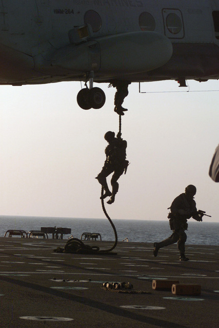 US Marine Corps (USMC) personnel of the 26 Marine Expeditionary Unit (MEU) Special Operations Capable (SOC), train for a Visit Board search and seizure (VBSS) on the USS LASALLE (AGF 3) Joint Command Ship (JCS)